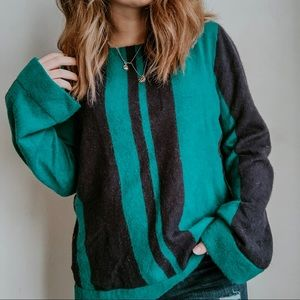 ANN TAYLOR  Green/Navy striped bell sleeve sweater